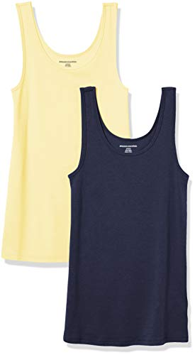 Amazon Essentials Women's 2-Pack Slim-Fit Tank, Yellow/Navy, XX-Large