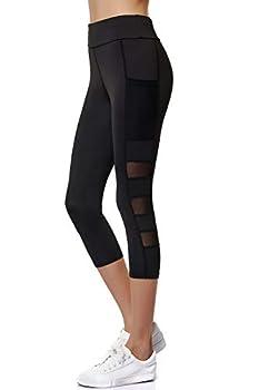 Joyshaper Women s Mesh Capri Leggings with Pockets 3/4 Length Running Crop Tights Workout Yoga Pants Black