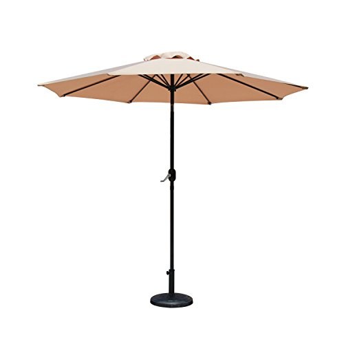 Baner Garden 9' Offset Hanging Patio Adjustable Market Umbrella Freestanding Outdoor Parasol Cantilever Crank Lift and Tilt Set comes with Heavy Duty Resin Stand, Light Brown (CA-1102-AB)