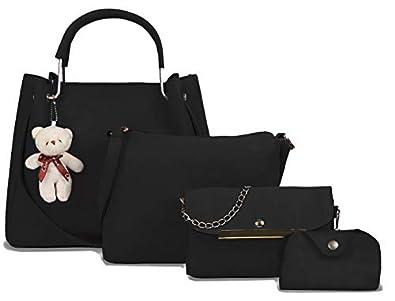 Fargo PU Leather Latest Handbags For Women's Ladies Combo Of 4 (Black_Teddy4_FGO-250)