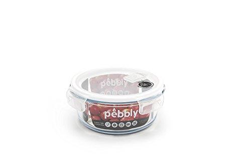 PEBBLY - PKV950ROB - Boite de conservation en verre ronde 950 ml pour cuire, conserver, transporter et réchauffer - 100% hermétique