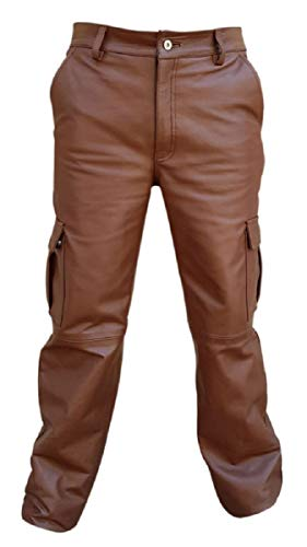 Mens Real Brown Leather 6 Pockets Cargo Pants Jeans Fully Lined - (CARGO2 Brown) W36 X L34