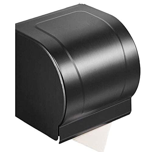 Tenedor de papel higiénico Toporte de papel higiénico de cocina, pared de baño colgando de acero inoxidable cepillado, negro