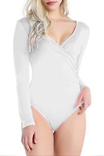 Doublju Women#039s Basic V Neck Short Sleeve/Long Sleeve Top Wrap Style Bodysuit White Large