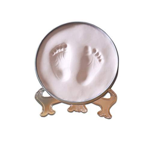 Asffdhley Bébé Cadre Photo du Nouveau-né Handprint Empreinte Cadre Photo Kit Round Fer Box (Color : White mud, Size : One Size)