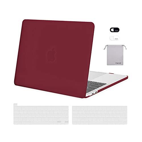 MOSISO FundaDura Compatible con MacBook Pro 13 A2338 M1 A2289 A2251 A2159 A1989 A1706 A1708,Plástico Carcasa Rígida&Cubierta de Teclado&Protector de Pantalla&Bolsa de Accesorios,Vino Rojo