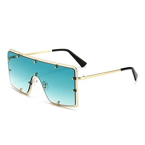 XDOUBAO Gafas de sol Gran marco Rivet Tendencia Personalidad Gafas de sol Hombres y mujeres Tide Gafas de sol-Color foto_Graduado de marco de oro