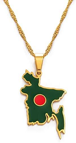 NC188 Collar Colgante de Mapa para Mujer Acero Inoxidable Dorado Mapa de Bangladesh Collares Pendientes con Cadena de Oro Joyería de la Amistad Regalo para Mujeres Hombres Longitud: 45 cm Cadena Fina