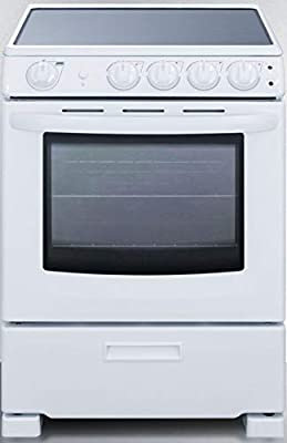 """Summit Appliance REX2421WRT 24"""" Wide Slide-In Look Smooth-Top Electric Range in White with Lower Storage Drawer, Oven Window, Adjustable Racks, Hot Surface Indicator, Indicator Lights"""