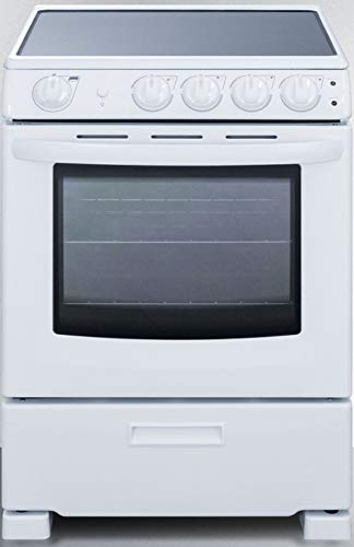 Summit Appliance REX2421WRT 24' Wide Slide-In Look Smooth-Top Electric Range in White with Lower Storage Drawer, Oven Window, Adjustable Racks, Hot Surface Indicator, Indicator Lights