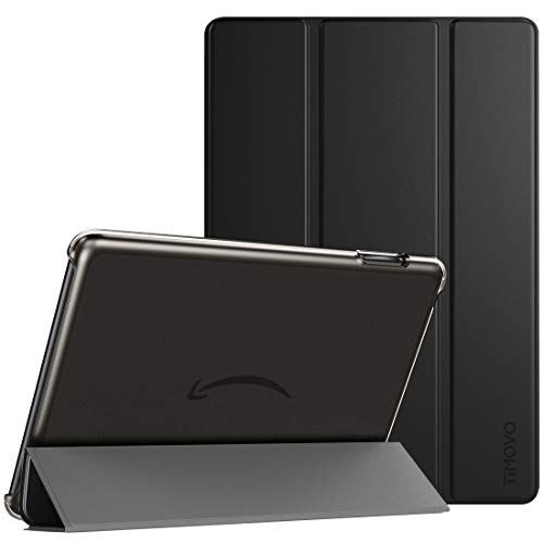 TiMOVO Funda para All New Fire HD 10 Tablet, Fire HD 10 Plus Tablet (10.1' 11 Generation, 2021 Release), Cubierta Trasera Protectora Estuche Plegable con Auto Estela/Sueño, Negro