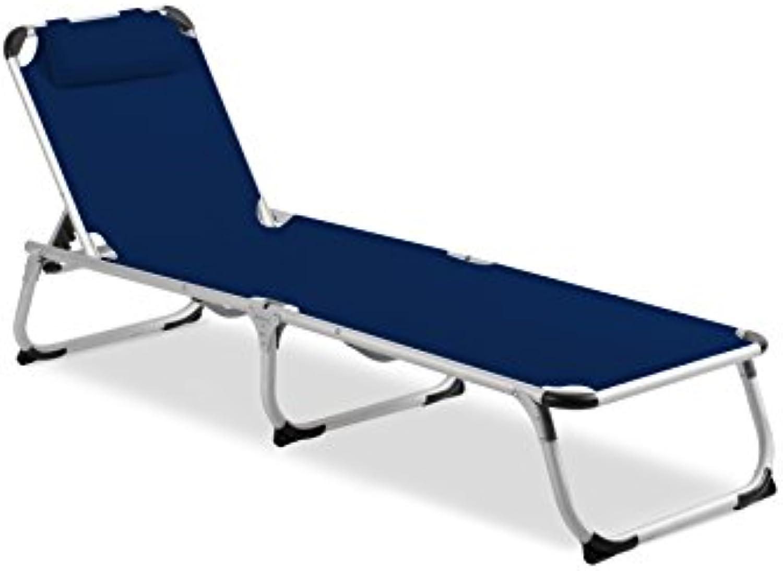 Vanage Gartenliege Helena in blau - Sonnenliege mit Textilbezug und Kissen - Liegestuhl ist klappbar - Gartenmbel - Strandliege aus Aluminium - Relaxliege für den Garten