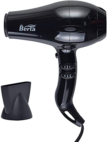 1875W Professional Salon Hair Dryer, Negative Ionic Berta Blow Dryer,AC Motor Powerful Hair Dryers with Concentrator ,2 Speed and 3 Heat Settings (Red)
