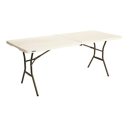 LIFETIME 80753 Fold in Half Light Commercial Table, 6 Feet, Almond
