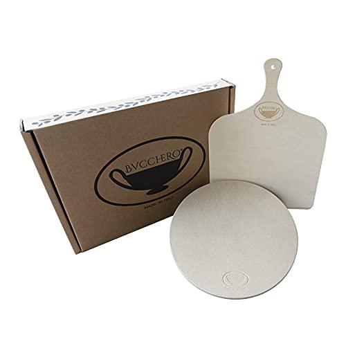 Bucchero - Juego de piedra refractaria cordierita + recetario + pala de madera para pizza, pan, fachadas de horno, barbacoa redonda 31 cm Kit completo