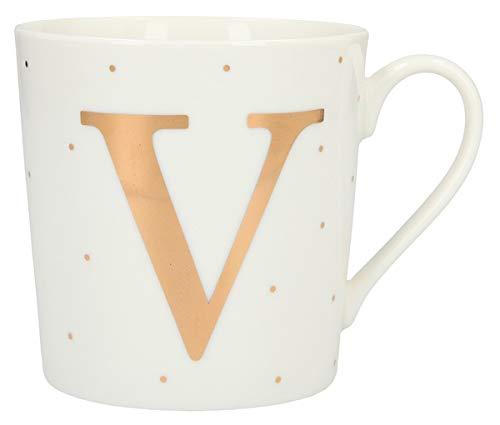 Depesche 5909.047 Tasse mit Henkel, aus Porzellan, 300 ml, mit Aufschrift, V, Mehrfarbig