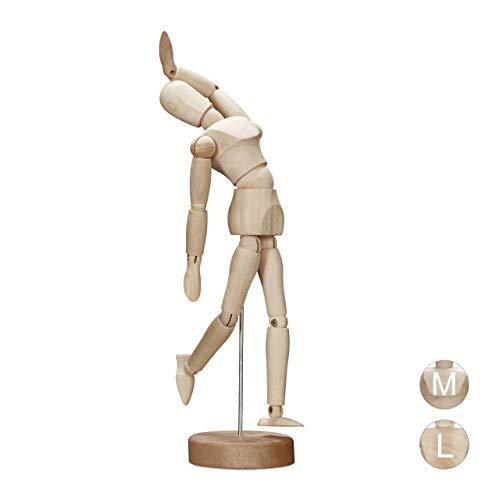 Relaxdays Maniquí, Figura Articulada, Madera, 15 cm, Marrón Natural