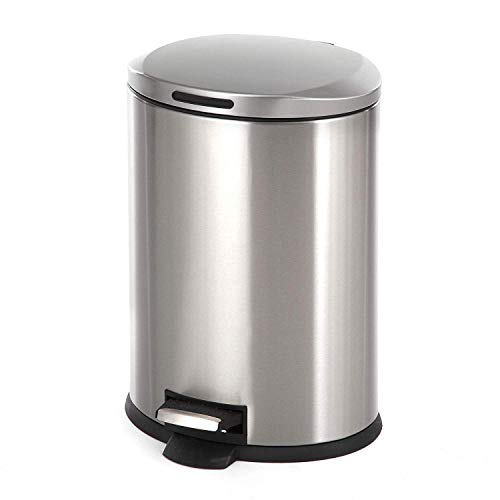 Home Zone Living 3 Gallon Kitchen Trash Can, Small Semi Round...