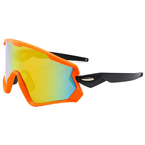 iKulilky Polarisierte Sonnenbrillen für Damen und Herren,Outdoor Reiz Brillen Fahrradbrille,Winddichte Sonnenbrillen,Brillen für Radfahren,Klettern,Fahren - Orange Frame Red Film