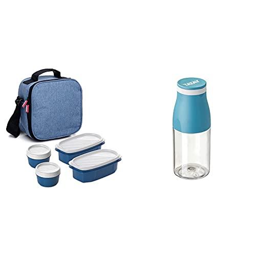 Tatay Urban Food Casual Bolsa Térmica Porta Alimentos, 3 L de Capacidad, Color Denim Blue + Botella Urban Drink de 400ml, Hermética, de Tritán, Libre de BPA, Resistente a Rotura, Color Ocean