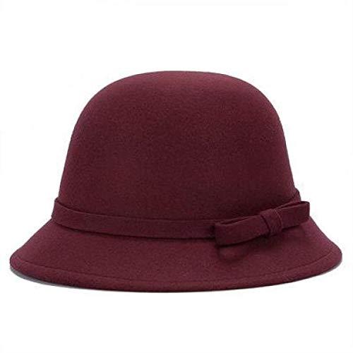 CosMos777 Sombrero vintage de fieltro de lana para mujer Fedora Trilby Bowknot Fedoras