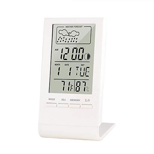iPer Wetterstation Digital Thermometer Hygrometer Min&Max Luftfeuchtigkeit Aufzeichnungen Weather Station für Innen und außen, Wecker, Uhrzeit Anzeige, Datum, Mondphrase, Weiß