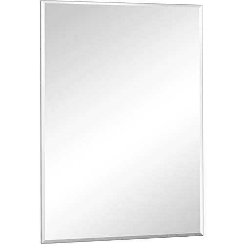 DH Large Frameless Wall Mirror,36x24 Inch Bathroom Mirror Horizontal & Vertical Hanging -