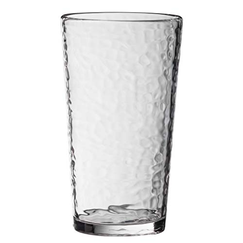 KLIFA- NICE series, Acrylic Highball Drinking Glasses Cups, Set of 6, BPA-Free, Stackable Drinkware, Dishwasher Safe, 20 oz, Clear