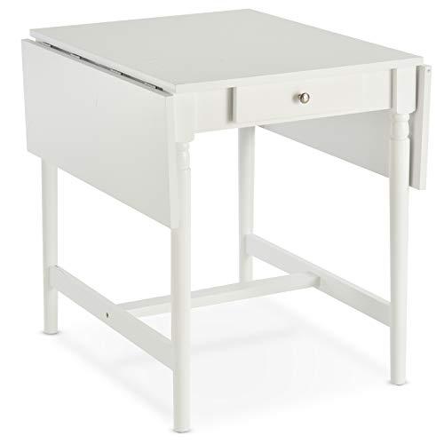 HOMCOM Klappbarer Esstisch Klapptisch Multifunktion 2 Faltbare Beistelltischeplatten MDF+Kiefernholz(Bein) Weiß 115 x 78 x 76 cm
