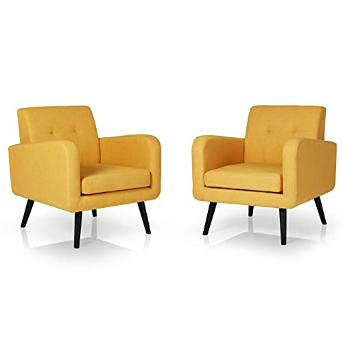 AODAILIHB Armchairs Set of 2 Mid Century Modern Chair Bedroom Chairs Living Room Chair Reading Furniture Single Sofa for Small Spaces (2, Yellow2)