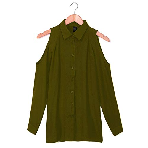 Romance-and-Beauty Zomer Tops Vrouwen Shirts Casual Elegant Off Schouder Chiffon Blouse Vrouwen Top Dames Blouses, Leger Groen, XXL