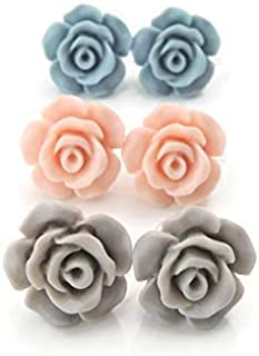 Invisible Clip On Rose Earrings, Pale Grey, Pink, Matte Blue Gift Set
