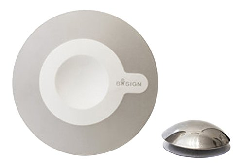 Bosign - Specchio cosmetico 5X, in plastica, 11,2 cm, colore: Bianco/Grigio