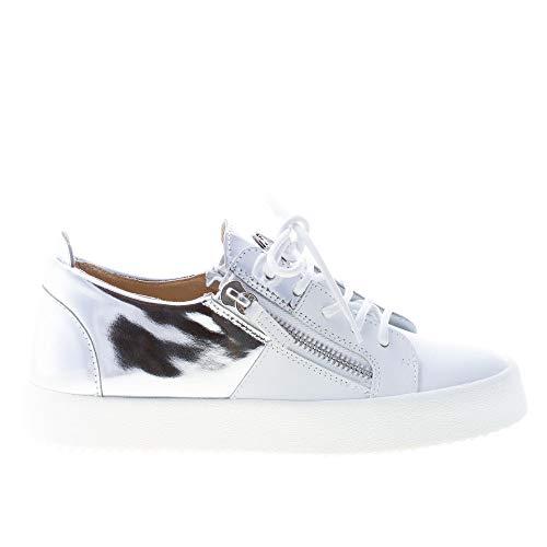GIUSEPPE ZANOTTI DESIGN Donna Sneaker May London in Pelle Bianco più Argento con Zip Color Bianco Size 38