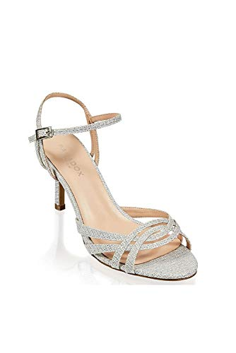 David's Bridal Metallic Glitter Mesh Strappy Sandals with Heel Style HERSILA, Silver, 9.5W