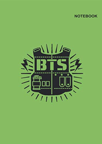 Notebook BTS k-pop: College Ruled paper, 110 Pages, (8.27 x 11.69 inches) A4, BTS Bulletproof Vest Green Design Cover.