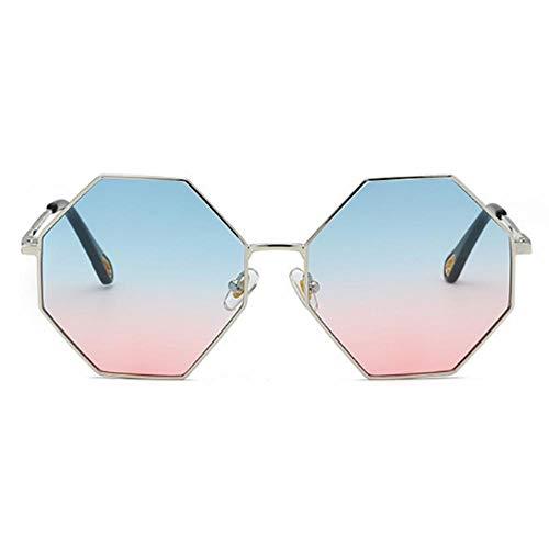 CCTYJ Occhiali da Sole Grandi Occhiali da Sole ottagonali Donna Occhiali da Sole Oversize sfumati per Uomo Vintage UV400-blu Rosa