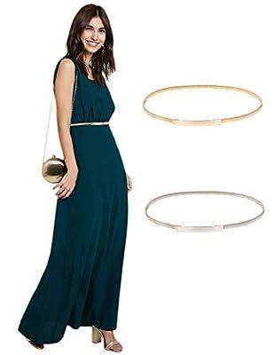 Women High Stretchy Metal Waist Belt for Dress Size S Silver CL633