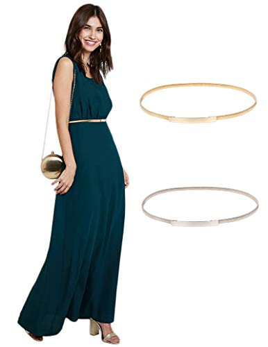 Women's Metal Stretchy Elastic Waist Belts Dress Belt Size L Gold CL633