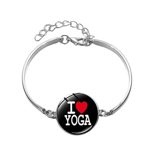 Minimalism I Love Yoga Declaración Pulsera Fitness Dibujos Animados Cristal Cabujón Charm Pulseras Brazaletes para Mujeres Niñas