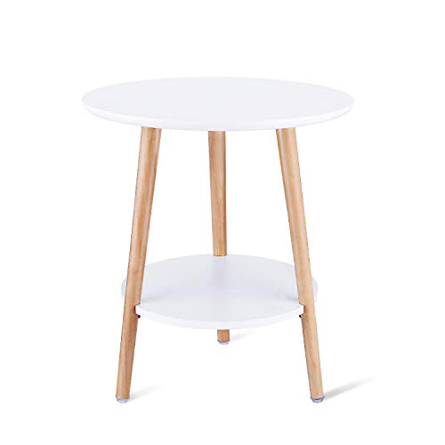 SECINBO Side Table Living Room with Storage Shelf,2 Layers Bedside Table,End Table Living Room,Round Table,White,Small,40×45CM