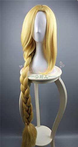 BCOGG Wirren Cosplay Perücke Prinzessin Rapunzel Lange Zöpfe Künstliche Blumen Headwear Frauen Blonde Synthetische Haar Erwachsene