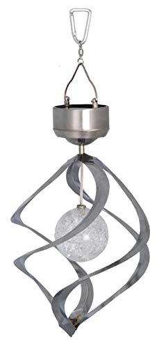 Best Season LED-Solar-Windspiel Wind Mill / 1 cool weiß LED mit Solarpanel inklusiv Akku/outdoor/silber 477-51