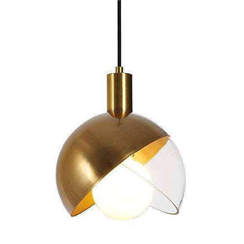 HJW Frijoles de Oro Colgante Luz Nórdica Sencillez 1 Cabeza Lujo Iron E14 Lámpara de Vidrio Pantalla Colgante Lámpara Altura Ajustable Sala de Estar Sala Comedor Restaurante Pasillo Corredor Lámpara