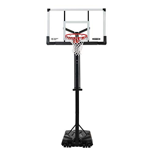 Lifetime 90734 Adjustable Portable Basketball Hoop, 54-Inch Tempered Glass Backboard, Black