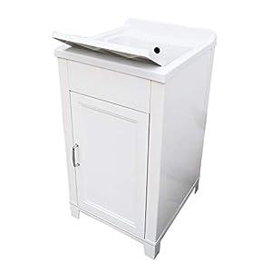 Mueble de 45 x 50 cm, kit de lavabo de resina y PVC, color blanco