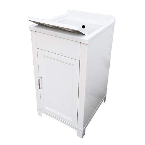 Mueble de 45 x 50 cm, kit de lavabo de resina y PVC, color blanco