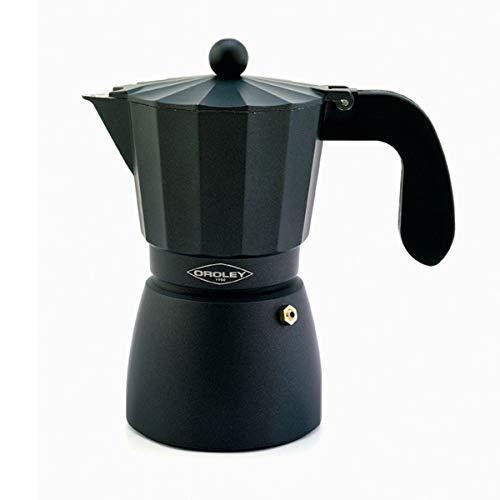 Oroley - Cafetera Italiana Touareg | Aluminio | 6 Tazas | Cafetera Vitrocerámica, Fuego y Gas | Estilo Tradicional