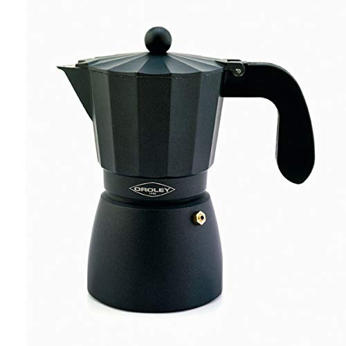 Oroley - Cafetera Italiana Touareg | Aluminio | 3 Tazas | Cafetera Vitrocerámica, Fuego y Gas | Estilo Tradicional