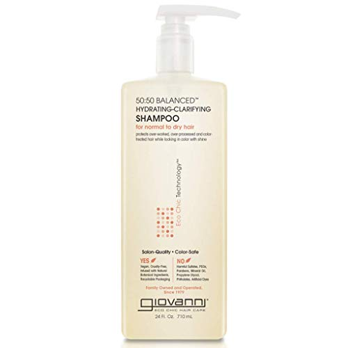 GIOVANNI 50:50 Balanced Hydrating Clarifying Shampoo, 24 oz. Leaves Hair pH Balanced, Ideal for Over-Processed, Environmentally Stressed Hair, Sulfate Free, No Parabens, Color Safe (Pack of 1)